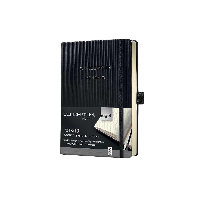 Sigel C1903 Conceptum Agenda semainier/carnet 18 mois 2018/2019 couverture rigide 14,8 x 21,3 cm Noir