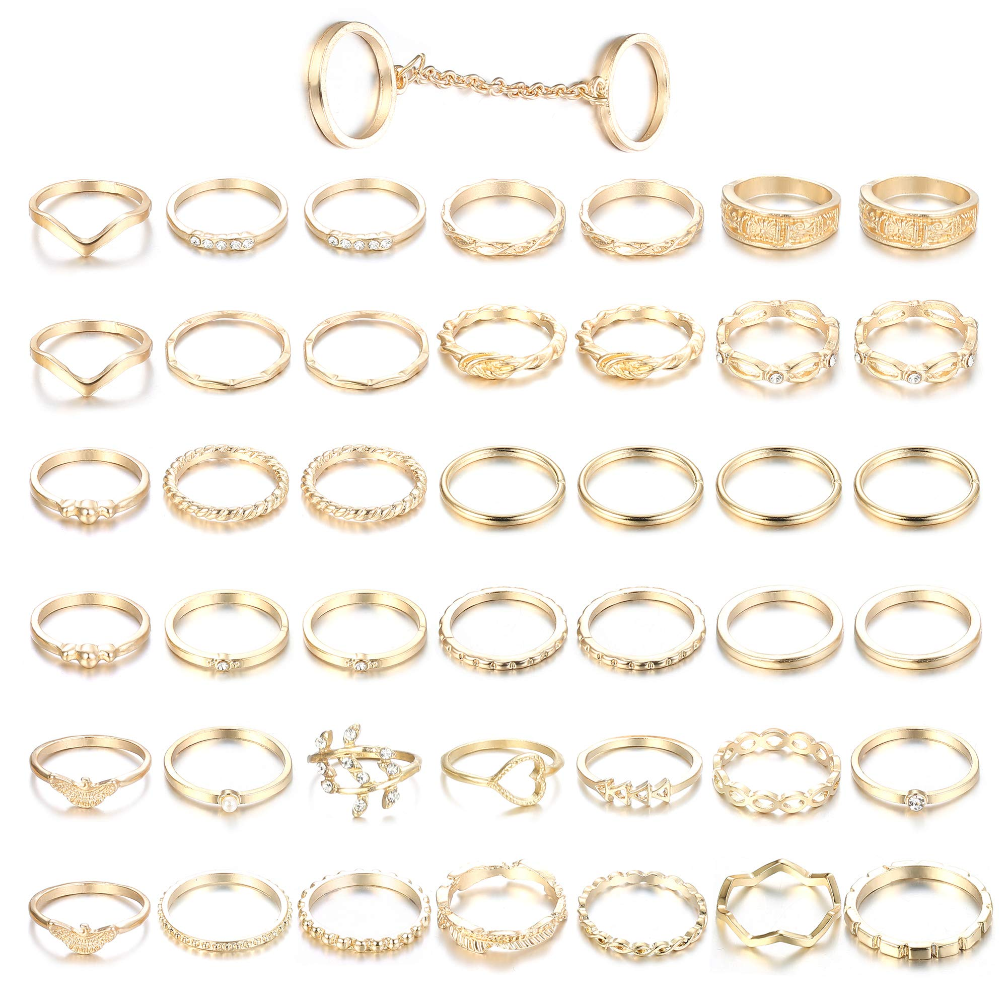 ORAZIO 43PCS Knuckle Rings for Women Mid Finger Stackable Rings Set Gold Tone by ORAZIO