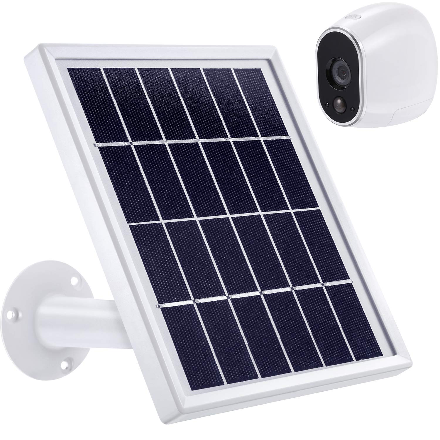 Solar Panel Compatible with Arlo HD, Power Arlo HD Outdoor Camera Continuously with Adjustable Mount, 12 Feet 3.6 m Cable and Micro USB Connector, Charging with Arlo HD No More Batteries