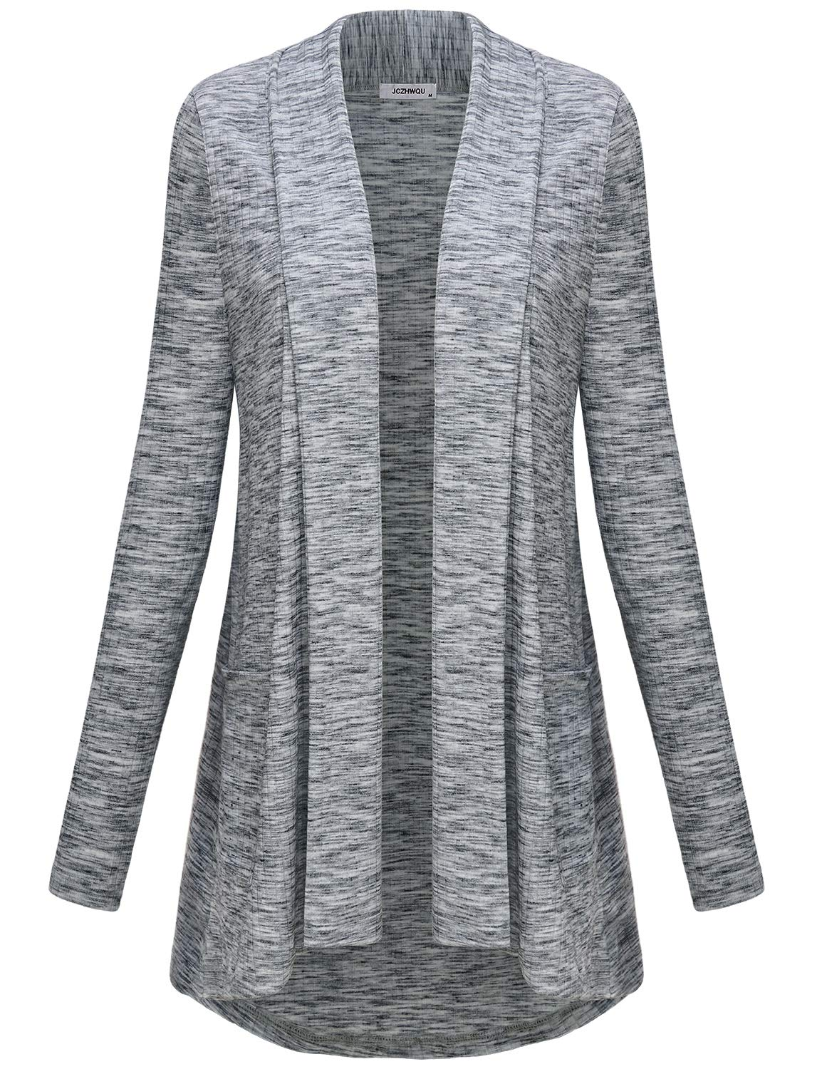 JCZHWQU Fall Tops for Women, Woman Long Sleeve Open Front Hi Low Comfy Stretchy Draped Light Knitted Cardigan Tunic Sweater Legging Shirts Wrinkle Free Travel Clothes Grey L