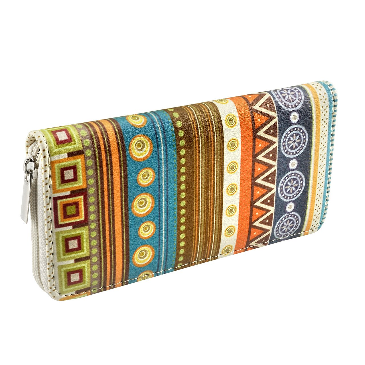 CHIC DIARY Women Wallet PU Leather Long Clutch Purse with Zipper Closure (#Geometrical pattern)