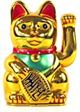 Maneki Neko - Figura de gato japonés (16 cm), color dorado