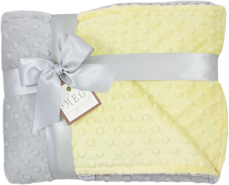 MEG Original Yellow and Gray Minky Dot Crib/Nursery Blanket by MEG Original