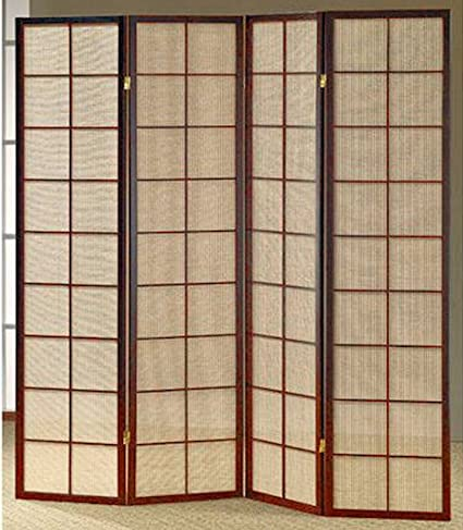 Exceptional Legacy Decor Fabric In Lay Folding Room Screen Divider In Cherry Finish  Wood 4 Panels