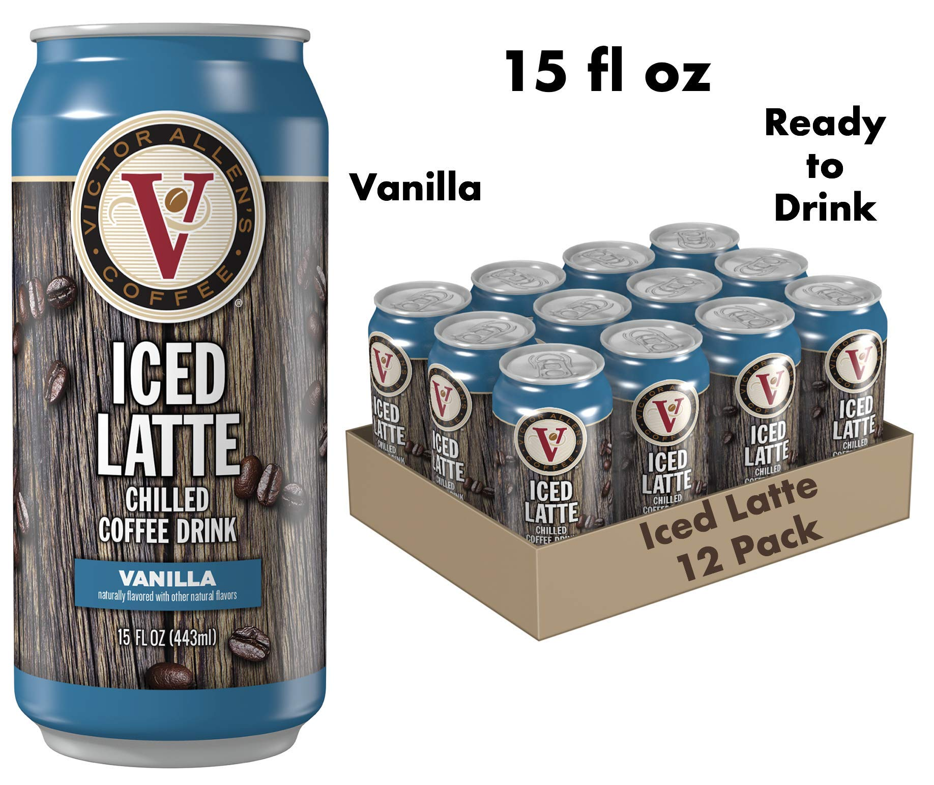Victor Allen Coffee Pre-Made Iced Vanilla Latte, Ready To Drink, 15 Oz (Pack Of 12)