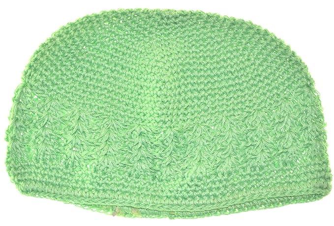51ab12598 MM Kufi Hat Crochet Cap Beanie Lime Green