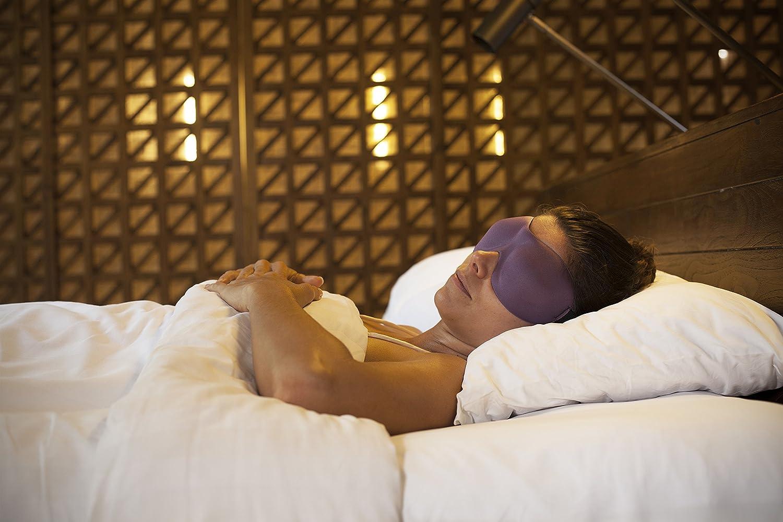 Luxury Patented Sleep Mask, Nidra® Deep Rest Eye Mask with Contoured Shape and Adjustable Head Strap, Sleep Deeply Anywhere, Anytime (Purple)