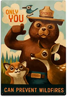 product image for Lantern Press Smokey Bear, Only You, Oil Painting (12x18 Aluminum Wall Sign, Wall Decor Ready to Hang)