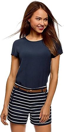 oodji Ultra Mujer Blusa Ancha con Escote Gota en la Espalda, Azul, ES 36 / XS: Amazon.es: Ropa y accesorios