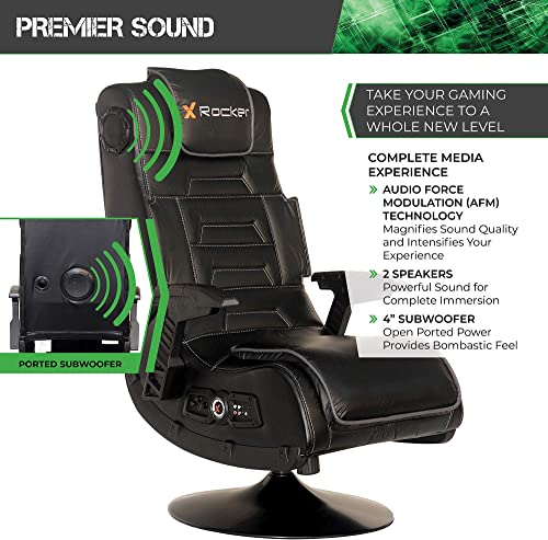 X Rocker Pro Series 2.1 Vibrating Black Leather Foldable Video Gaming Chair with Pedestal Base and Headrest