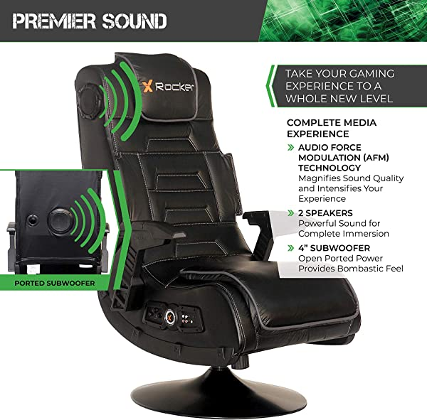 X Rocker Pro Series 2.1 Vibrating Black Leather Foldable Video Gaming Chair with Pedestal Base and Headrest for Adult, Teen, and Kid Gamers