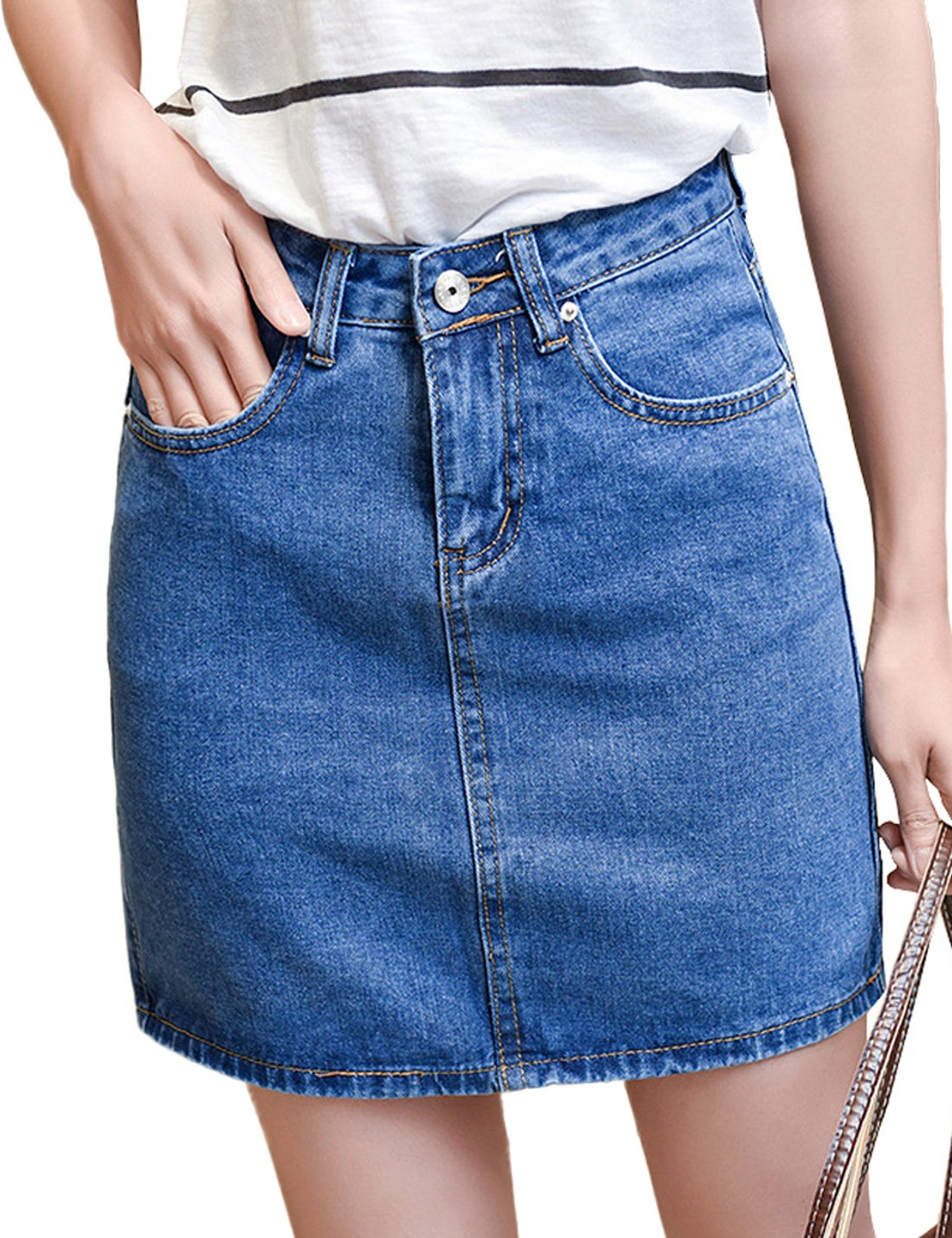 Tanming Women Casual Loose A-line Denim Skirts (Medium, Medium Blue)