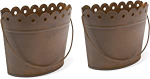 GRILA Hanging Wall Planter Rusty Set - Cute Scalloped Farmhouse Decor Half Basket Set of 2 planters for Indoor Outdoor Plants Faux Flower Succulent herb Strawberry. Metal Plant Vertical Garden pots.