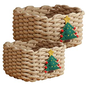 Enzk&Unity Christmas Woven Cotton Rope Baskets Shelf Storage Xmas Decorative Basket for Gifts,Kids Toys, Living Room, Bedroom, 2 Pcs Set, Brown