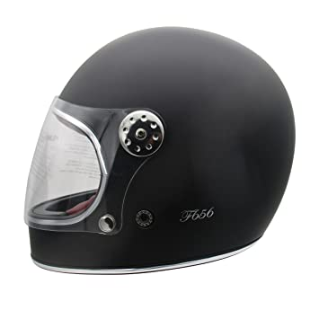 Viper F656 - Casco de fibra de vidrio para motocicleta, diseño vintage, color negro