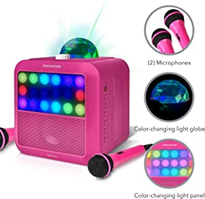 Portable Karaoke Machine - Singsation Star Burst (Pink) Karaoke System Comes w/ 2 Mics, Room Filling Light Show, Retro Light Panel & Works via Bluetooth. No CDs Required. YouTube Your Favorite Songs