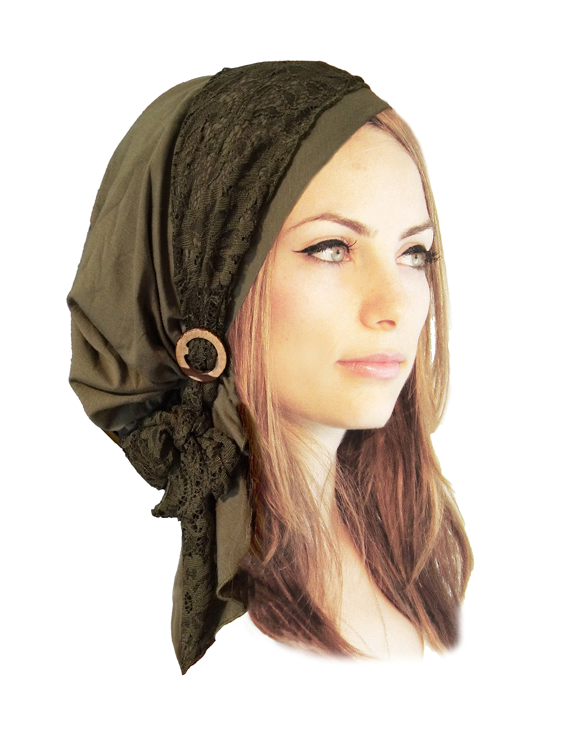 Boho Chic pre-Tied Headscarf Gorgeous Vintage lace wrap Handmade Coconut Buckles - 131 Olive Green by ShariRose