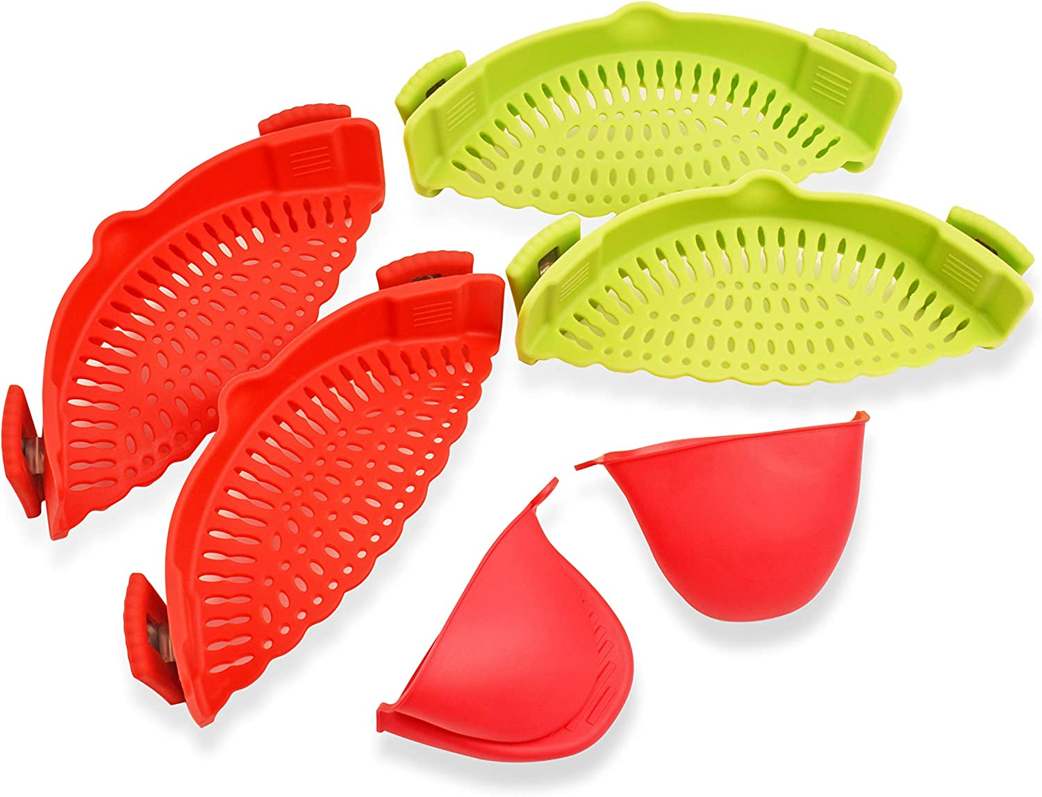 BUI - Silicone Clip on Strainer -Pack of 4 Universal Heat Resistant Food Grade Snap N Strain Kitchen Colanders - Easy to Use Adjustable Hands Free Drainer - Complete with 2 Silicone Oven Gloves Set.