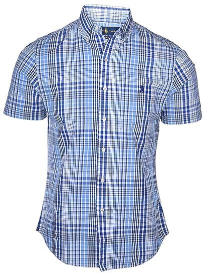 2a8907766 Amazon.com: Ralph Lauren Men Seersucker Short Sleeve Button-Down Shirt (S,  White/Blue Plaid): Sports & Outdoors