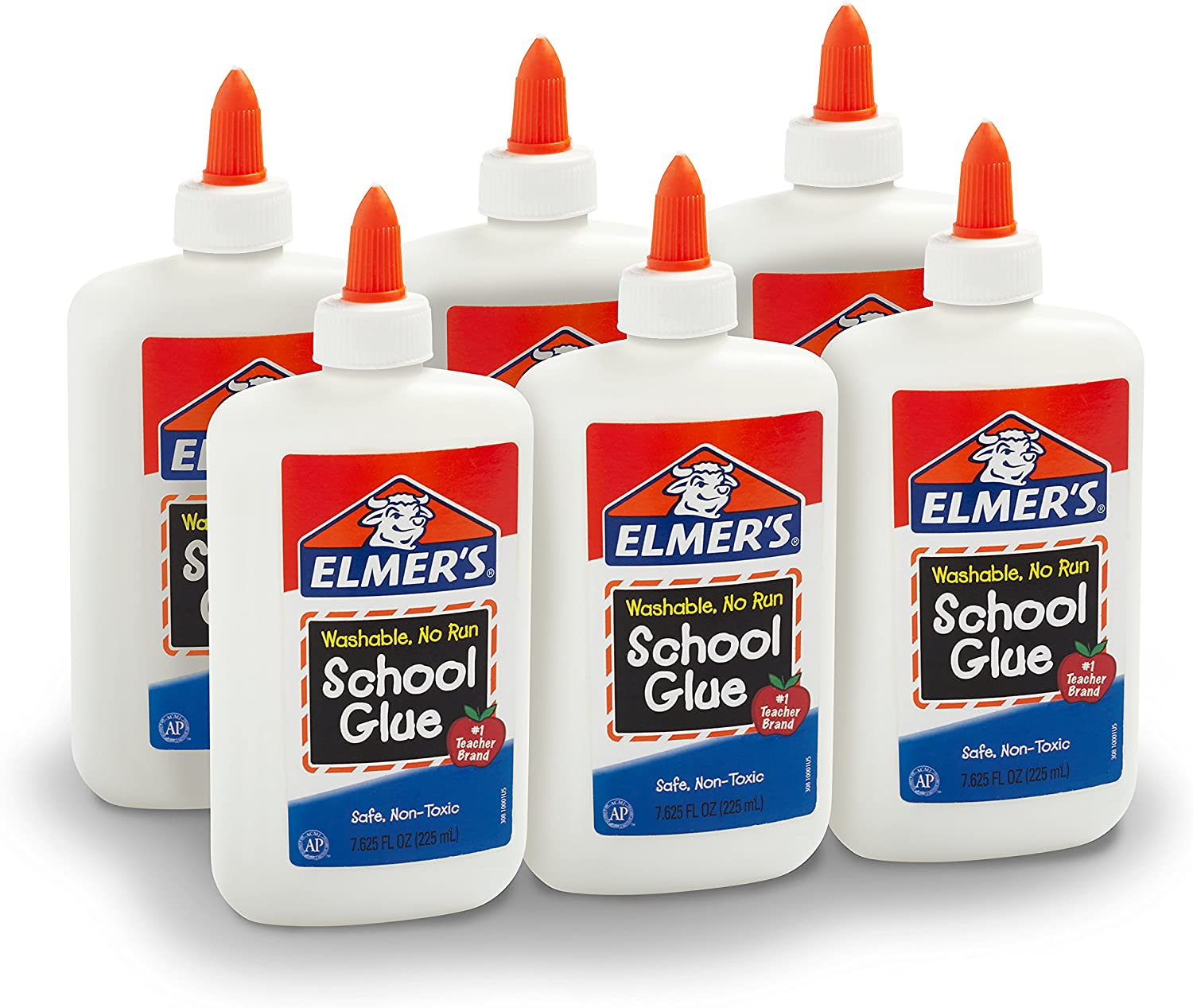 Elmer's Liquid School Glue, Washable, 7.625 Ounces, 6 Count - Great for Making Slime - E308NR