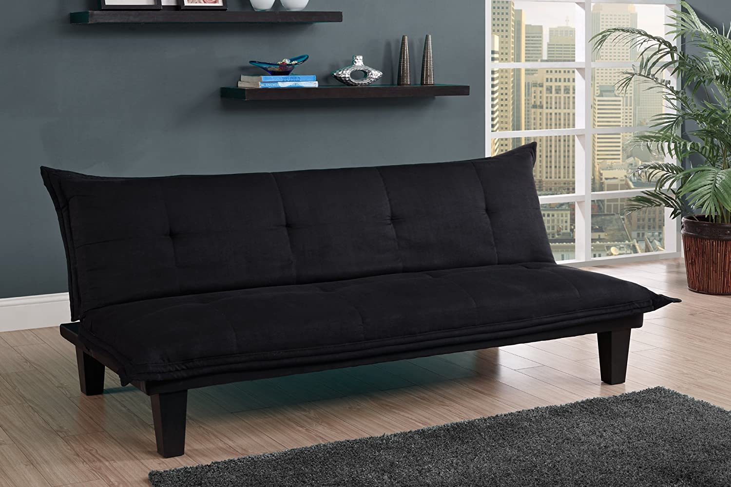 Amazon.com: DHP Lodge Convertible Futon Couch Bed with Microfiber  Upholstery and Wood Legs - Black: Kitchen & Dining