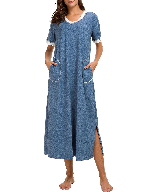 3534e5a122 Dolay Short Sleeve Nightgown Cotton Sleep Dress for Women Full Sleep T  Shirts (Blue