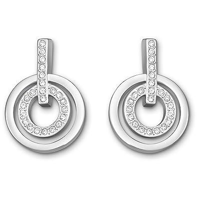 fa4b21b4b3240 Swarovski Circle Mini Pierced Earrings, White, Rhodium plating