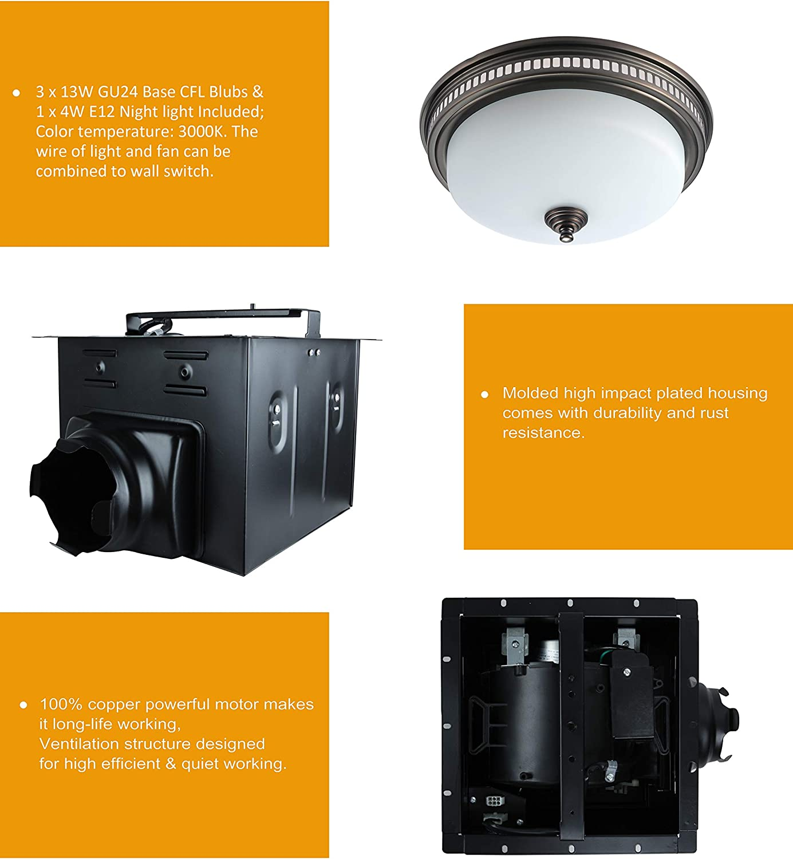 Ultra Quiet Exhaust Bathroom Fan With Light And Nightlight 20Cfm ...