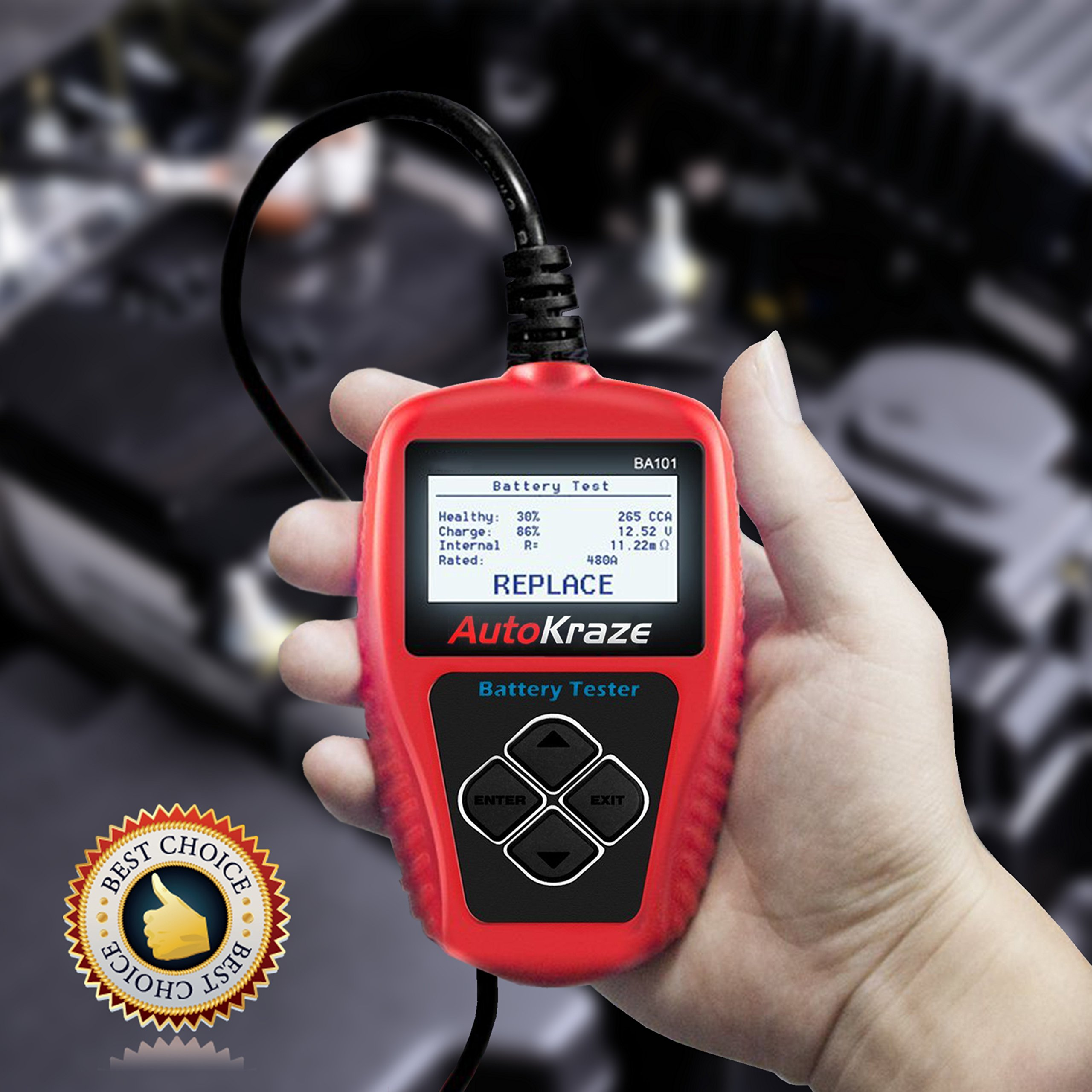 AutoKraze BA101 Automotive Battery Load Tester 12V 100-2000 CCA Bad Cell Test Analyzer Tool Directly Test Car, Boat, and Motorcycle Battery Status Portable, Digital and Rechargeable Battery Tester by AutoKraze (Image #7)