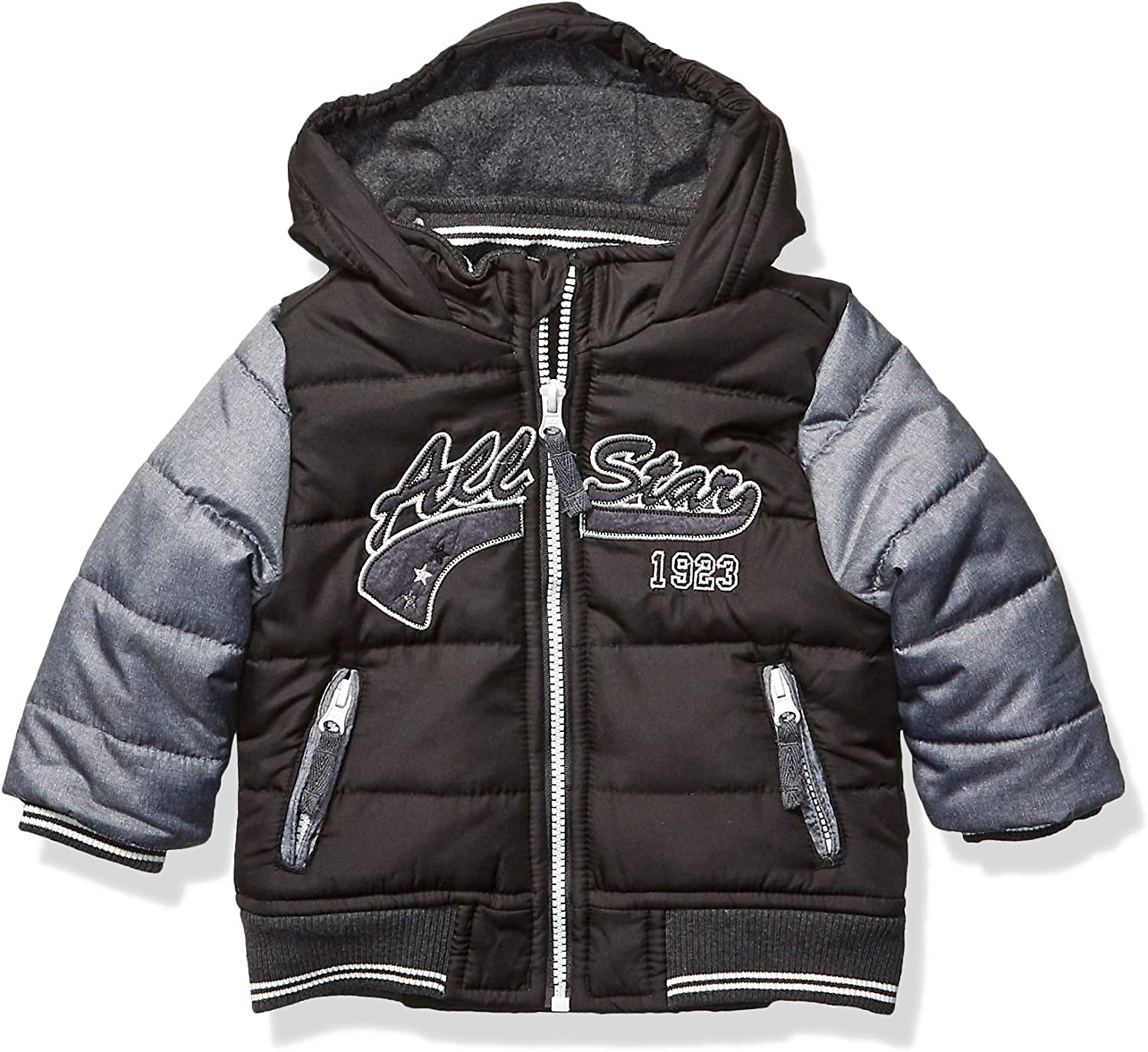 LONDON FOG baby-boys Quilted Bomber Jacket With Hood