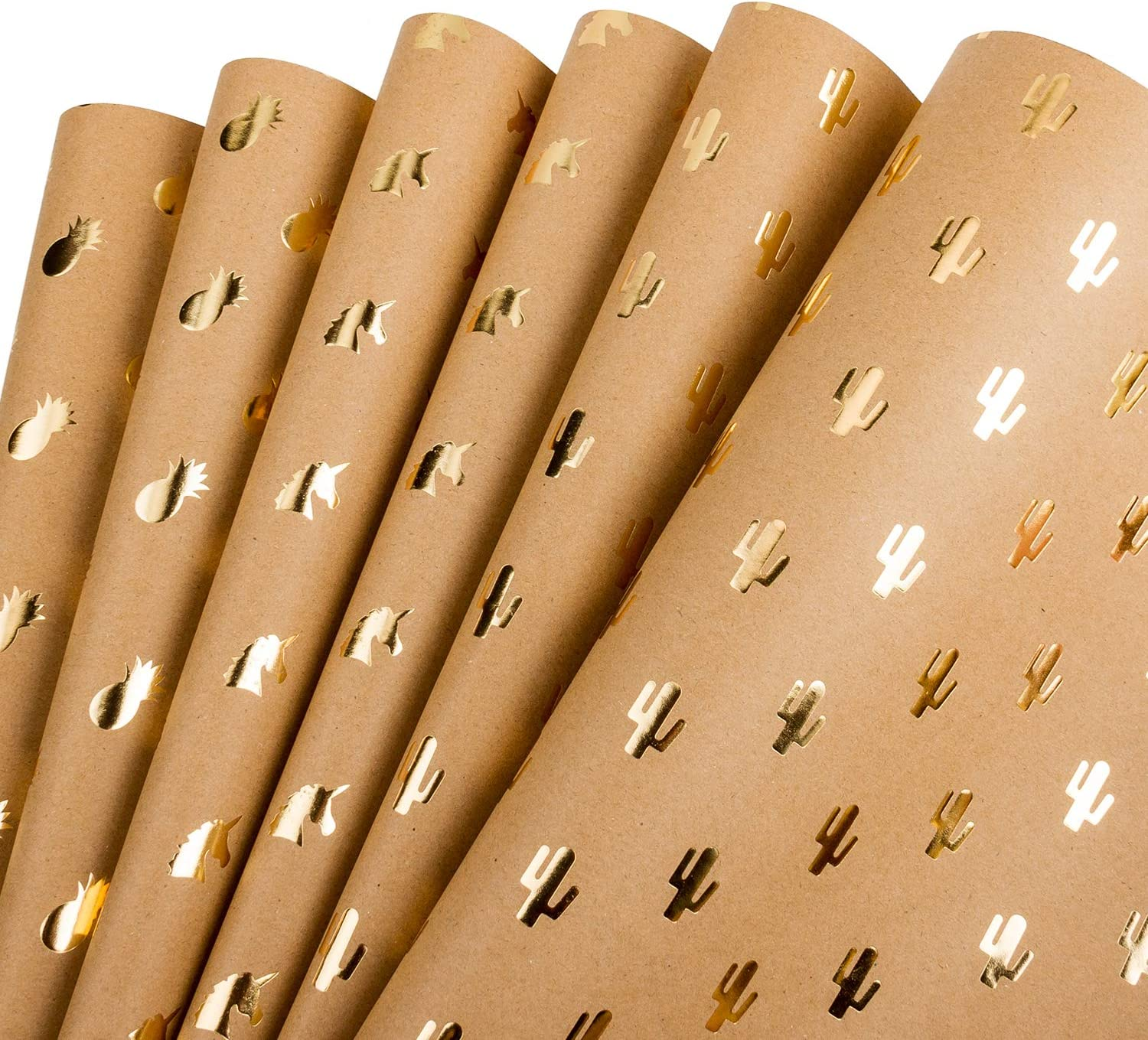 RUSPEPA Kraft Wrapping Paper Gold Foil Pineapple Cactus Shiny Kraft Paper for Birthday, Holiday, Wedding Gift Wrap - 6 Sheets Packed as 1 roll- 17.5 x 30 Inch per Sheet