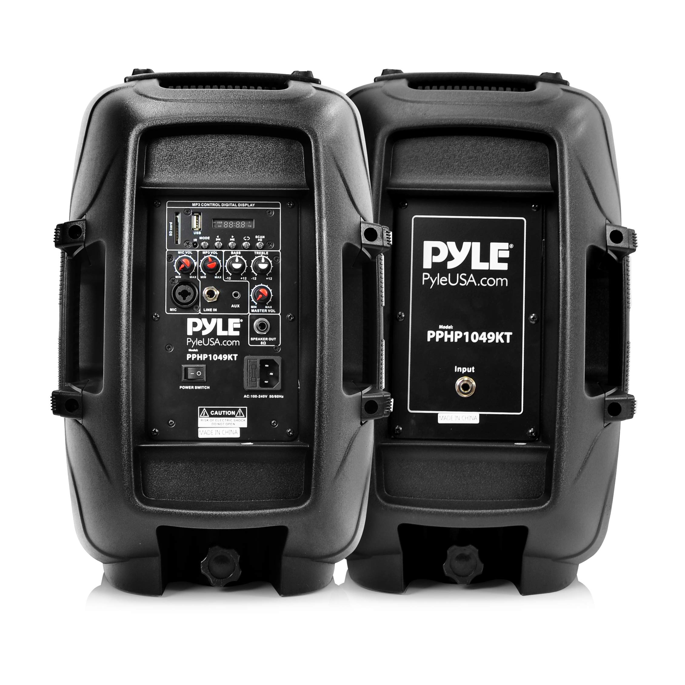 Wireless Portable PA Speaker System - 1000W High Powered Bluetooth Compatible Active + Passive Pair Outdoor Sound Speakers W/USB SD MP3 AUX - 35mm Mount, 2 Stand, Microphone, Remote - Pyle by Pyle (Image #2)