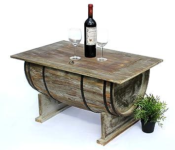 Dandibo Couchtisch Wohnzimmer Vintage Halbiertes Weinfass 5084 H