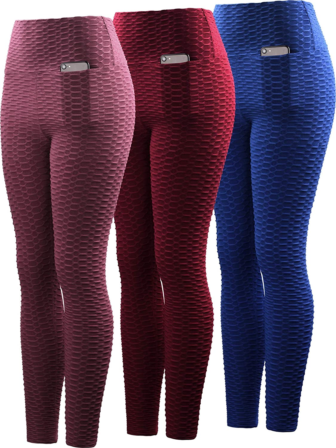 9036 bluee Red Maroon,3 Piece Neleus High Waist Running Workout Leggings for Yoga with Pockets