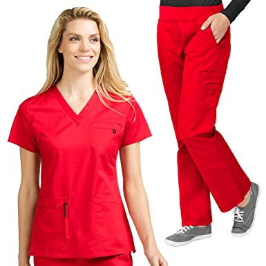 bb45f3cf523 Amazon.com: Med Couture MC2 Women's V-Niki V-Neck Solid Scrub Top & MC2  Yoga Scrub Pant Set: Clothing