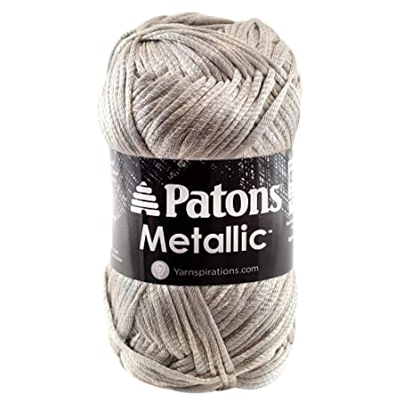 Patons Metallic Yarn 4 Medium Gauge 3 Oz Platinum For