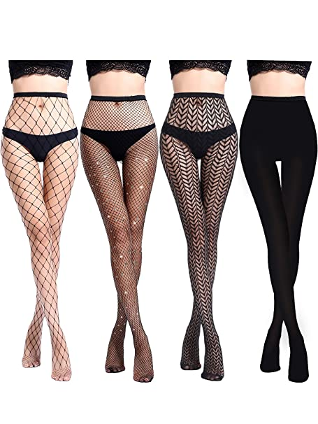 c3aa83214 Chengu 4 Pairs Woman s Black Lace Top Thigh-High Stockings Fishnet Stockings  Silk Stockings (