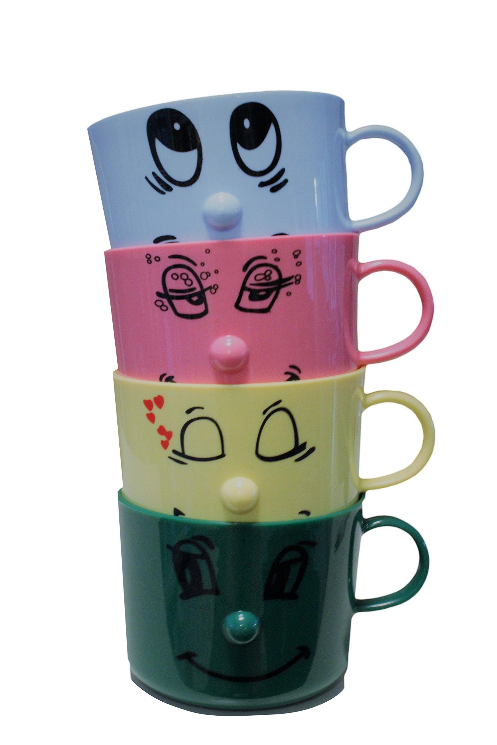 Silly Face Mugs Set of 4 | Funny Mugs | Kids Mugs | Dinnerware Set | Stacking Mugs