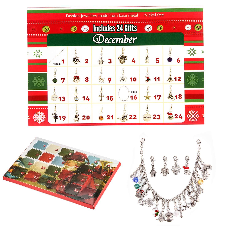 Calendario dell' avvento fai da te bracciale collana set con 22ciondoli moda gioielli calendari dell' avvento conto alla rovescia per bambini a tema Natale, regali Silver Bright ZF-AC-001