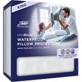 UltraBlock 100% Waterproof Pillow Protector - Hypoallergenic Pillow Cover - Zippered Case, King Size, Set of 2