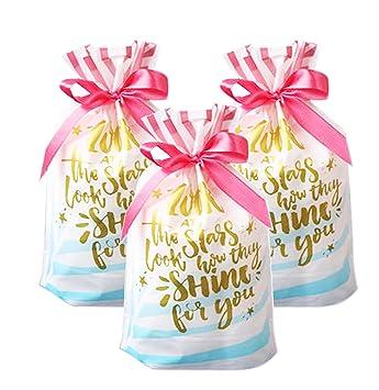 Amazon Funcoo 30 Pcs Drawstring Gift Treat Bag Plastic Party