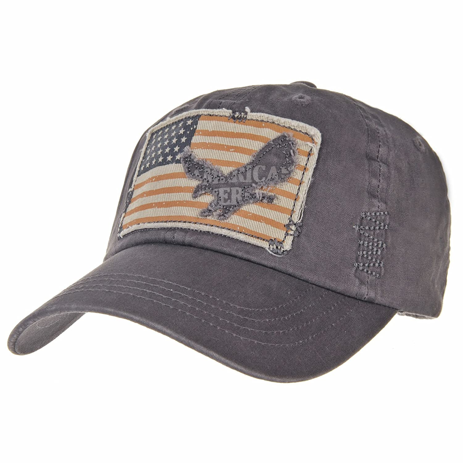 e32ff435136 WITHMOONS Baseball Cap Vintage American Flag Patch Distressed CR1055 (Gray)  at Amazon Men s Clothing store