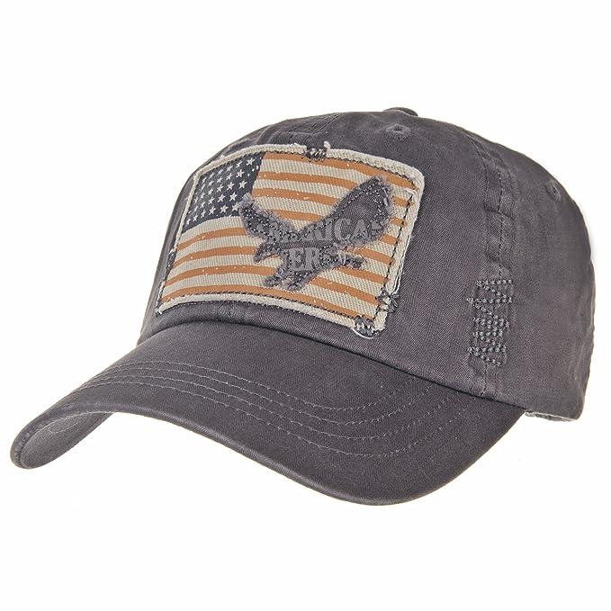 WITHMOONS Gorras de béisbol Gorra de Trucker Sombrero de Vintage Baseball Cap American Flag Patch Hat CR1256 (Grey): Amazon.es: Ropa y accesorios