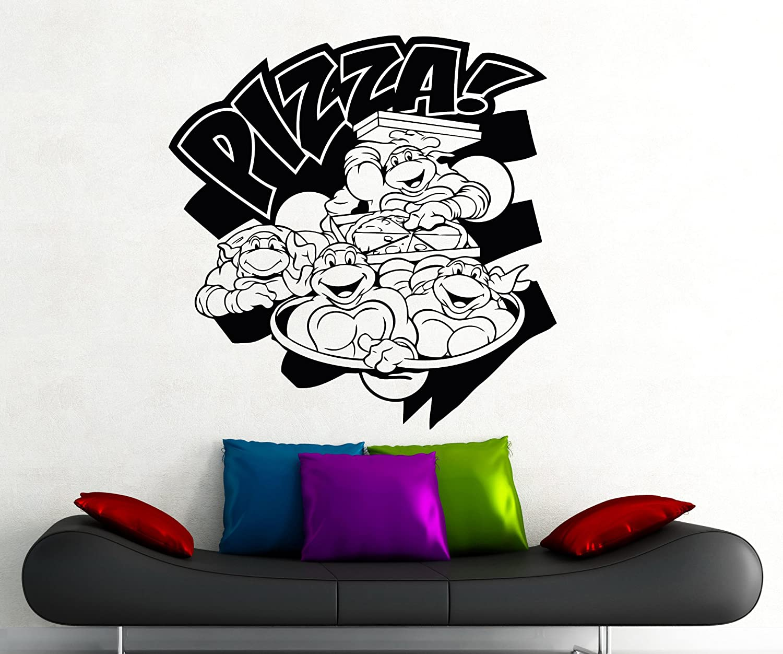 Pizza Turtles Ninja Wall Decal Superhero Sticker Comics Art Home Decoration Any Room Waterproof Sticker (140su)