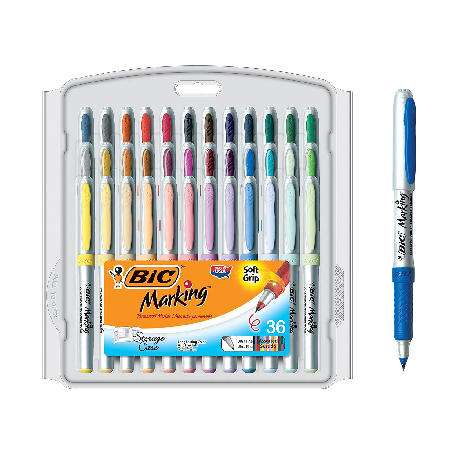 BIC Mark-It Color Collection Ultra Fine Permanent Marker, Assorted, 36 Markers BIC Corporation GPMUP361