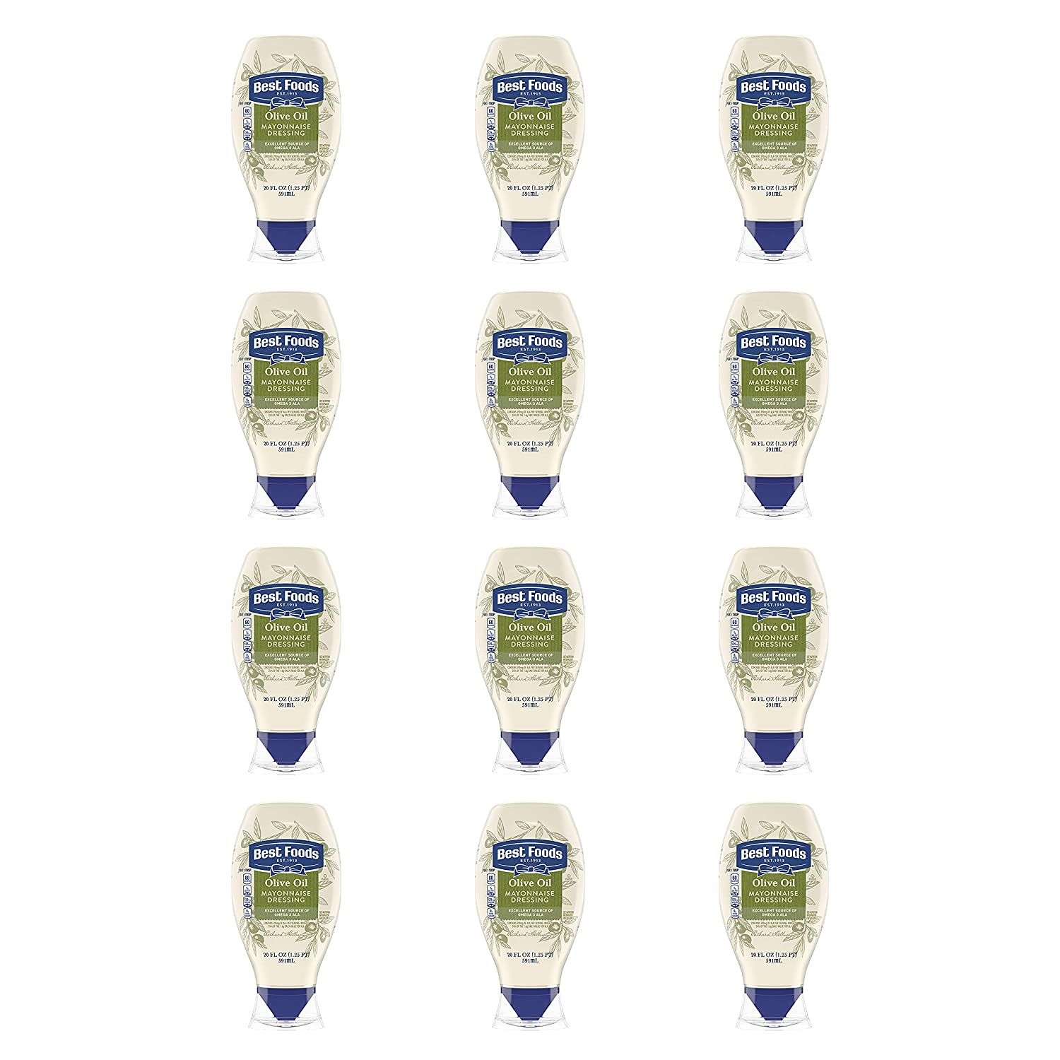 Best Foods Mayonnaise Dressing with Olive Oil Squeeze Bottle Mayo 20 oz, Pack of 12