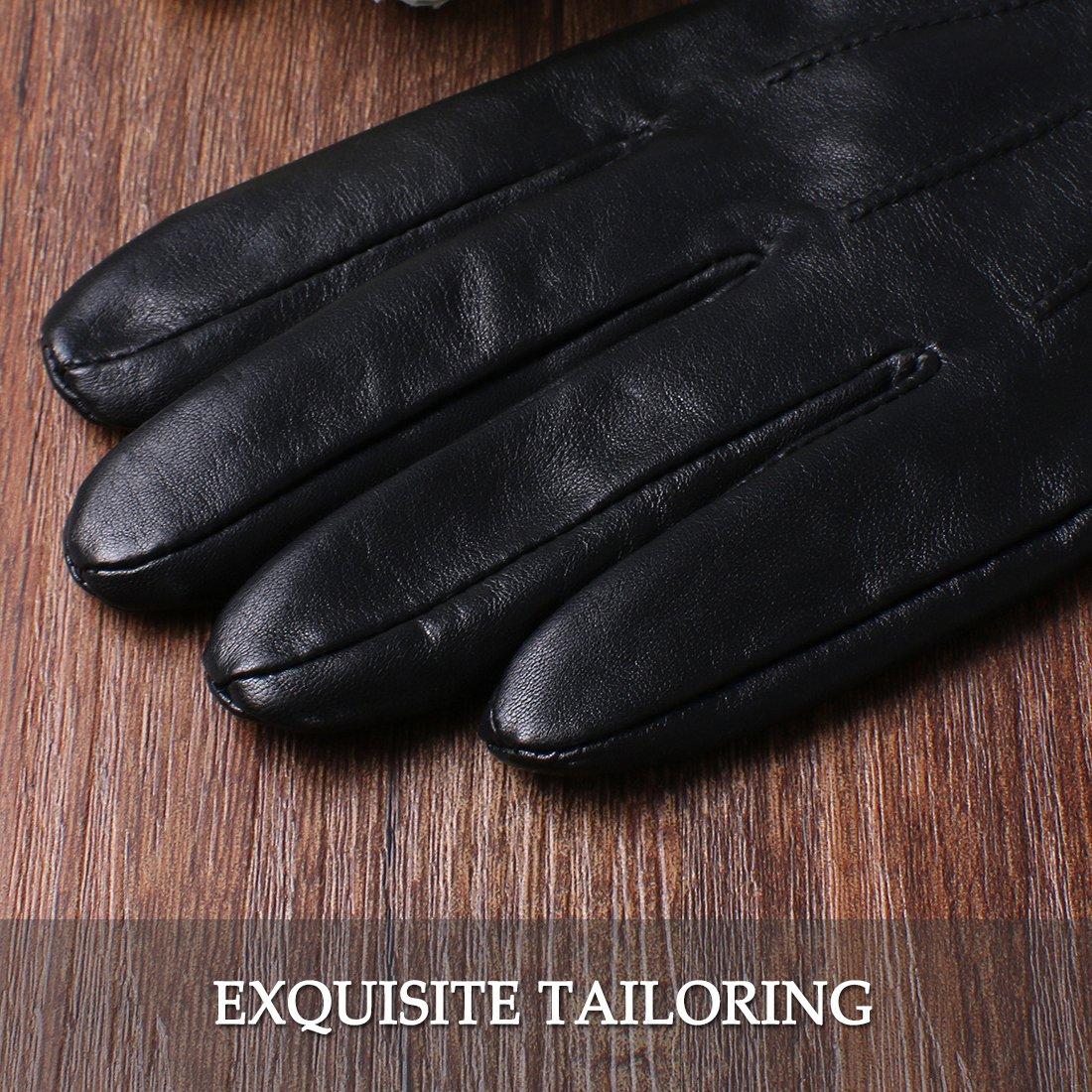 Lambskin Driving Winter Warm Fleece Lining Touchscreen Leather Glove for Men