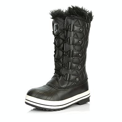 f0808d51022e DailyShoes Women s Lace Up Knee High Artic Warm Fur Water Resistant Eskimo Snow  Boots