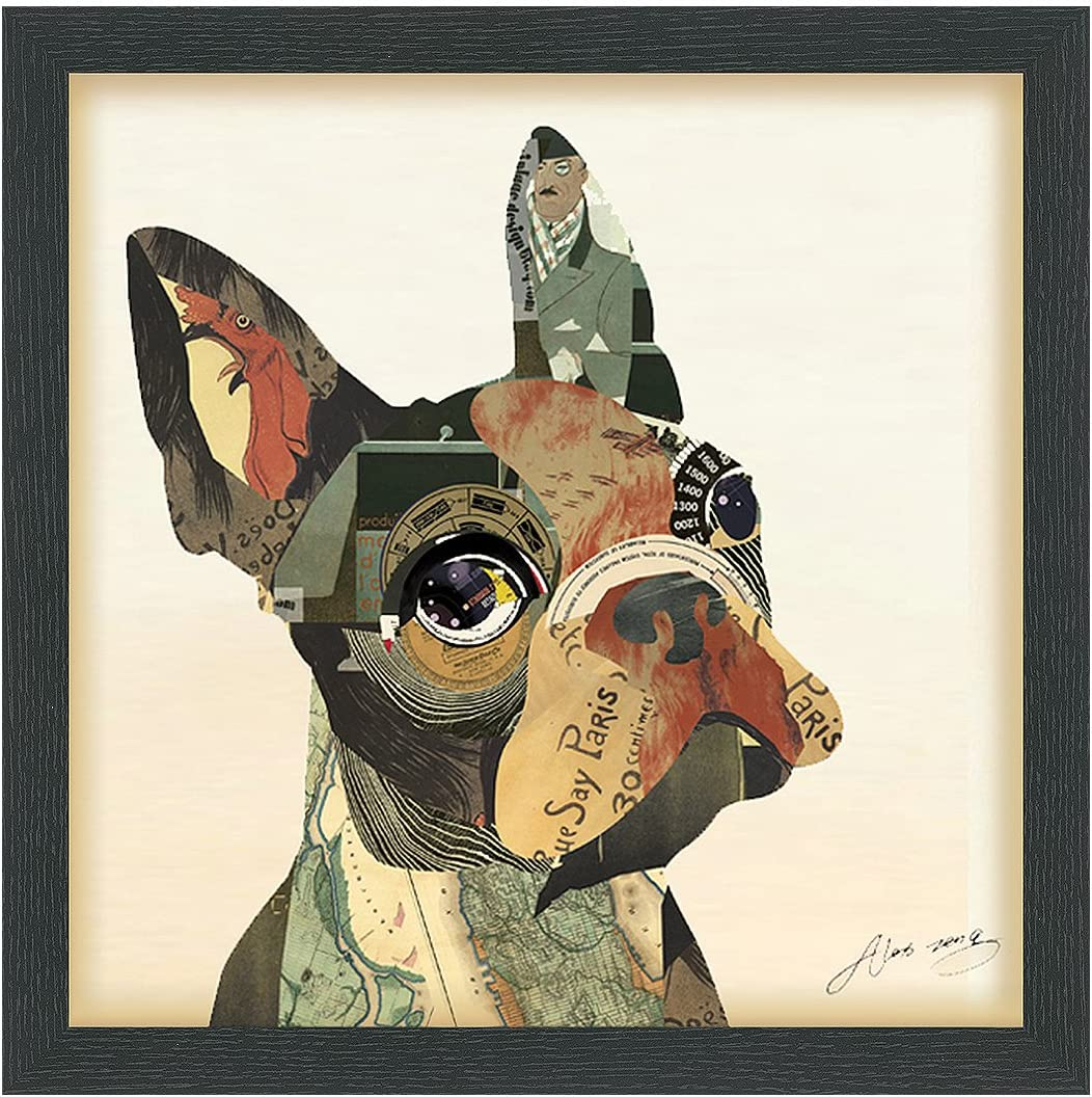 Empire Art Direct French Bulldog Dimensional Collage Handmade by Alex Zeng Framed Graphic Dog Wall Art, 17 x 17 x 1.4 , Ready to Hang,