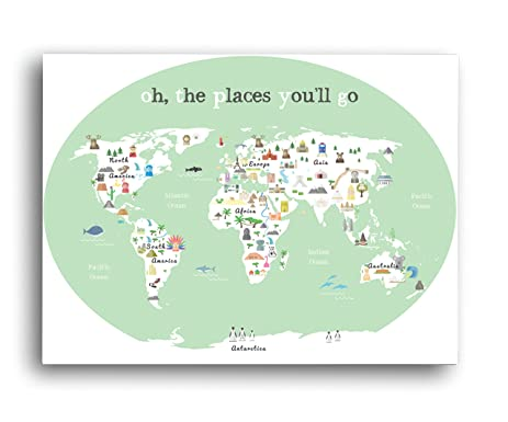 Amazon world map wall art oh the place youll go travel map world map wall art oh the place youll go travel map gumiabroncs Images